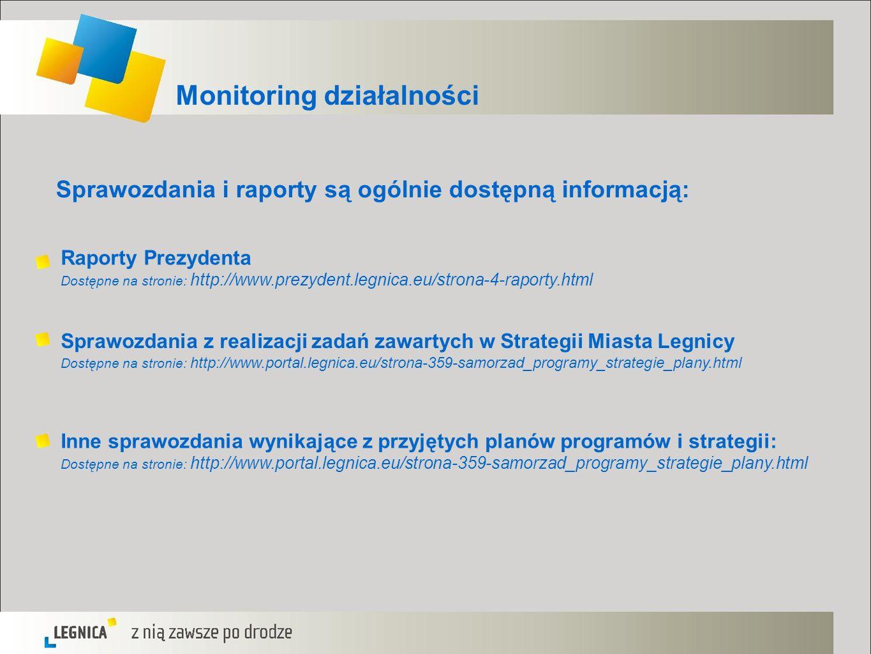 Monitoring działalności Sprawozdania i raporty są ogólnie dostępną informacją: Raporty Prezydenta Dostępne na stronie: http://www.prezydent.legnica.eu