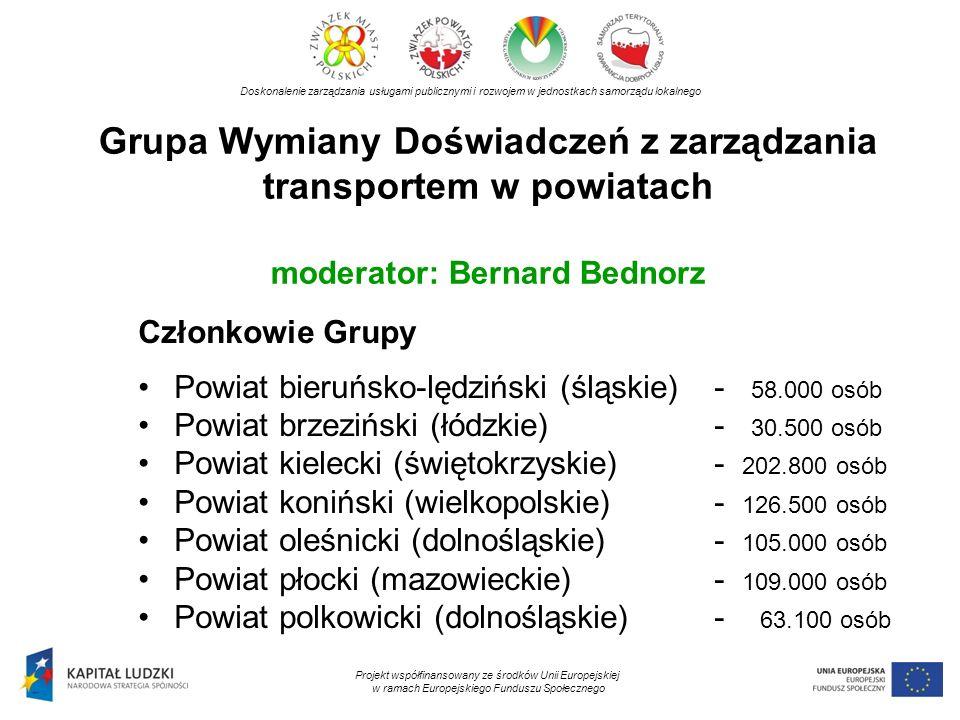 Grupa Wymiany Doświadczeń z zarządzania transportem w powiatach moderator: Bernard Bednorz Doskonalenie zarządzania usługami publicznymi i rozwojem w jednostkach samorządu lokalnego Projekt współfinansowany ze środków Unii Europejskiej w ramach Europejskiego Funduszu Społecznego Członkowie Grupy Powiat bieruńsko-lędziński (śląskie) - 58.000 osób Powiat brzeziński (łódzkie)- 30.500 osób Powiat kielecki (świętokrzyskie)- 202.800 osób Powiat koniński (wielkopolskie)- 126.500 osób Powiat oleśnicki (dolnośląskie)- 105.000 osób Powiat płocki (mazowieckie)- 109.000 osób Powiat polkowicki (dolnośląskie)- 63.100 osób