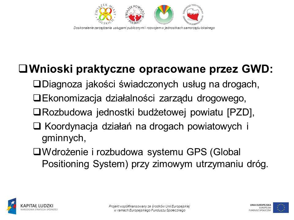 Doskonalenie zarządzania usługami publicznymi i rozwojem w jednostkach samorządu lokalnego Projekt współfinansowany ze środków Unii Europejskiej w ramach Europejskiego Funduszu Społecznego Wnioski praktyczne opracowane przez GWD: Diagnoza jakości świadczonych usług na drogach, Ekonomizacja działalności zarządu drogowego, Rozbudowa jednostki budżetowej powiatu [PZD], Koordynacja działań na drogach powiatowych i gminnych, Wdrożenie i rozbudowa systemu GPS (Global Positioning System) przy zimowym utrzymaniu dróg.
