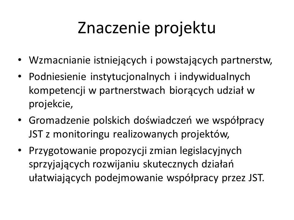 Znaczenie projektu Wzmacnianie istniejących i powstających partnerstw, Podniesienie instytucjonalnych i indywidualnych kompetencji w partnerstwach biorących udział w projekcie, Gromadzenie polskich doświadczeń we współpracy JST z monitoringu realizowanych projektów, Przygotowanie propozycji zmian legislacyjnych sprzyjających rozwijaniu skutecznych działań ułatwiających podejmowanie współpracy przez JST.