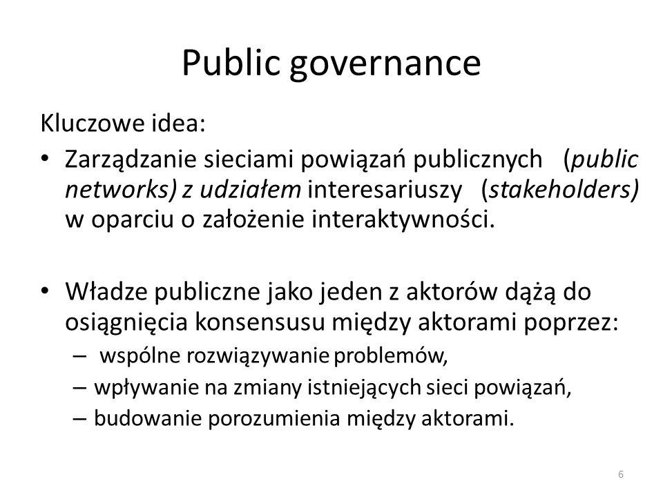 Public governance Kluczowe idea: Zarządzanie sieciami powiązań publicznych (public networks) z udziałem interesariuszy (stakeholders) w oparciu o założenie interaktywności.
