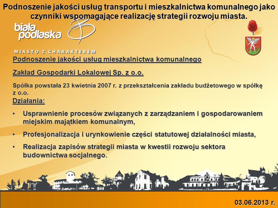 Podnoszenie jakości usług transportu i mieszkalnictwa komunalnego jako czynniki wspomagające realizację strategii rozwoju miasta.