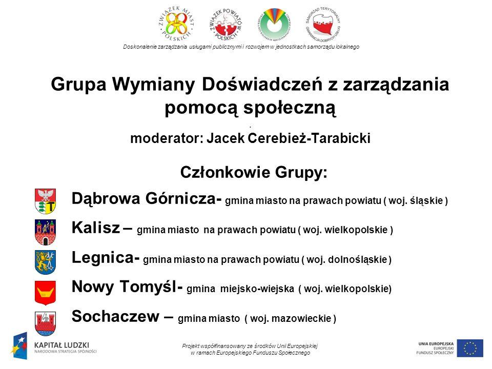 Grupa Wymiany Doświadczeń z zarządzania pomocą społeczną. moderator: Jacek Cerebież-Tarabicki Doskonalenie zarządzania usługami publicznymi i rozwojem
