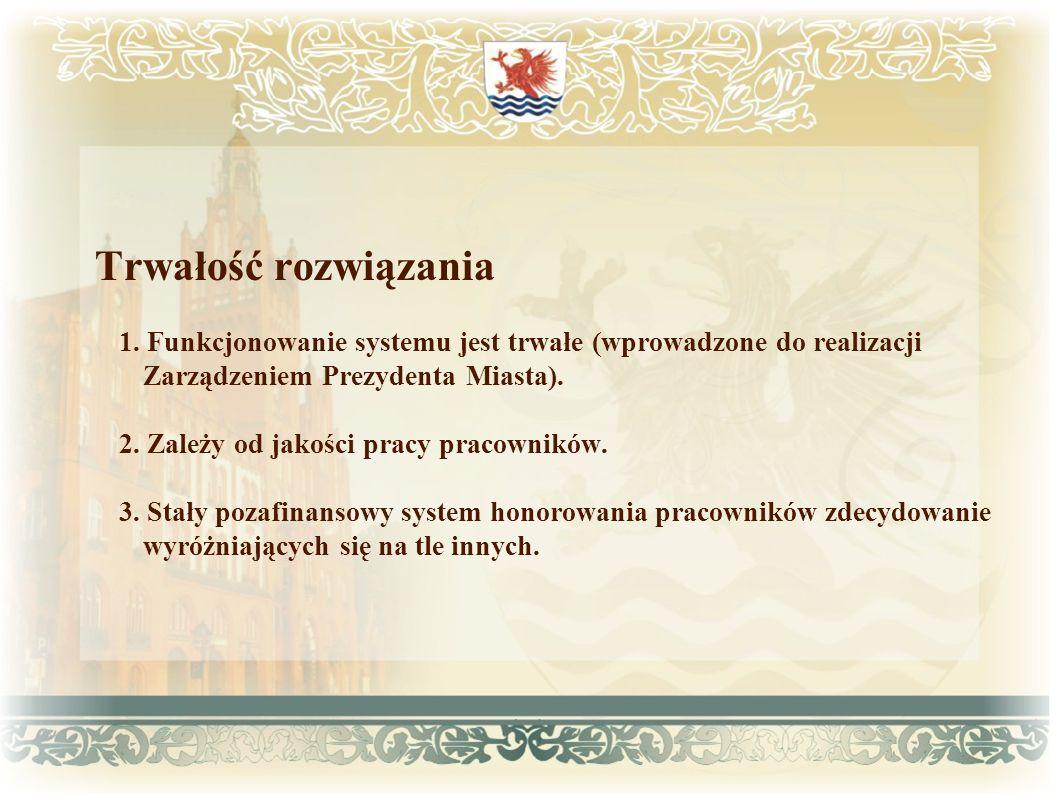 Trwałość rozwiązania 1. Funkcjonowanie systemu jest trwałe (wprowadzone do realizacji Zarządzeniem Prezydenta Miasta). 2. Zależy od jakości pracy prac