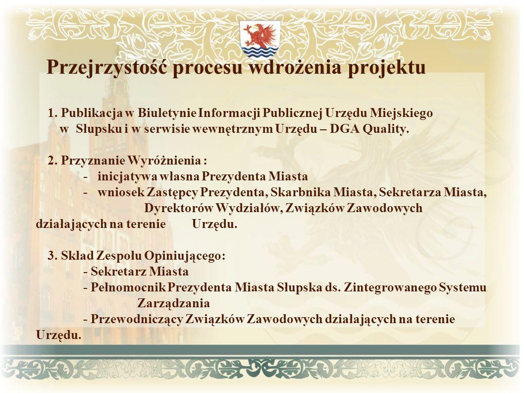 Przejrzystość procesu wdrożenia projektu 1. Publikacja w Biuletynie Informacji Publicznej Urzędu Miejskiego w Słupsku i w serwisie wewnętrznym Urzędu