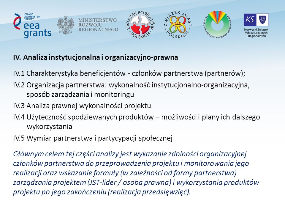 IV. Analiza instytucjonalna i organizacyjno-prawna IV.1 Charakterystyka beneficjentów - członków partnerstwa (partnerów); IV.2 Organizacja partnerstwa