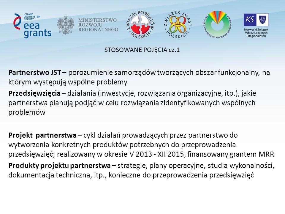 STOSOWANE POJĘCIA cz.1 Partnerstwo JST – porozumienie samorządów tworzących obszar funkcjonalny, na którym występują wspólne problemy Przedsięwzięcia – działania (inwestycje, rozwiązania organizacyjne, itp.), jakie partnerstwa planują podjąć w celu rozwiązania zidentyfikowanych wspólnych problemów Projekt partnerstwa – cykl działań prowadzących przez partnerstwo do wytworzenia konkretnych produktów potrzebnych do przeprowadzenia przedsięwzięć; realizowany w okresie V 2013 - XII 2015, finansowany grantem MRR Produkty projektu partnerstwa – strategie, plany operacyjne, studia wykonalności, dokumentacja techniczna, itp., konieczne do przeprowadzenia przedsięwzięć