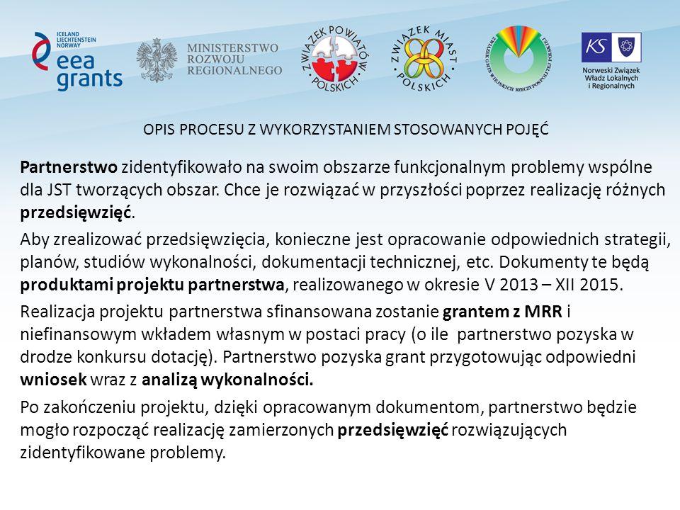 OPIS PROCESU Z WYKORZYSTANIEM STOSOWANYCH POJĘĆ Partnerstwo zidentyfikowało na swoim obszarze funkcjonalnym problemy wspólne dla JST tworzących obszar.