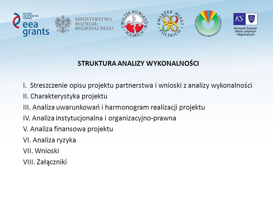 STRUKTURA ANALIZY WYKONALNOŚCI I. Streszczenie opisu projektu partnerstwa i wnioski z analizy wykonalności II. Charakterystyka projektu III. Analiza u