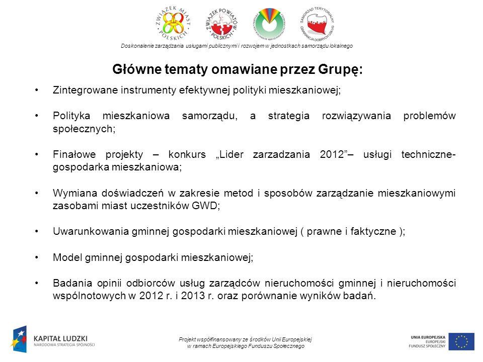 Główne tematy omawiane przez Grupę: Doskonalenie zarządzania usługami publicznymi i rozwojem w jednostkach samorządu lokalnego Projekt współfinansowan