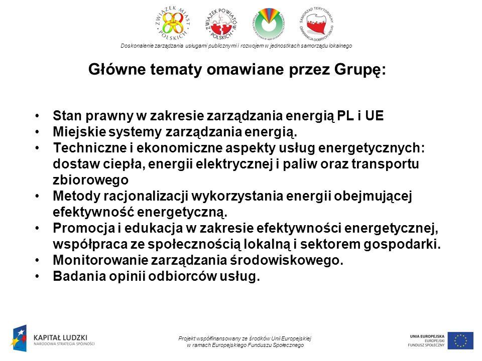Główne tematy omawiane przez Grupę: Doskonalenie zarządzania usługami publicznymi i rozwojem w jednostkach samorządu lokalnego Projekt współfinansowany ze środków Unii Europejskiej w ramach Europejskiego Funduszu Społecznego Stan prawny w zakresie zarządzania energią PL i UE Miejskie systemy zarządzania energią.