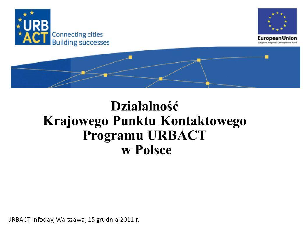 Działalność Krajowego Punktu Kontaktowego Programu URBACT w Polsce URBACT Infoday, Warszawa, 15 grudnia 2011 r.