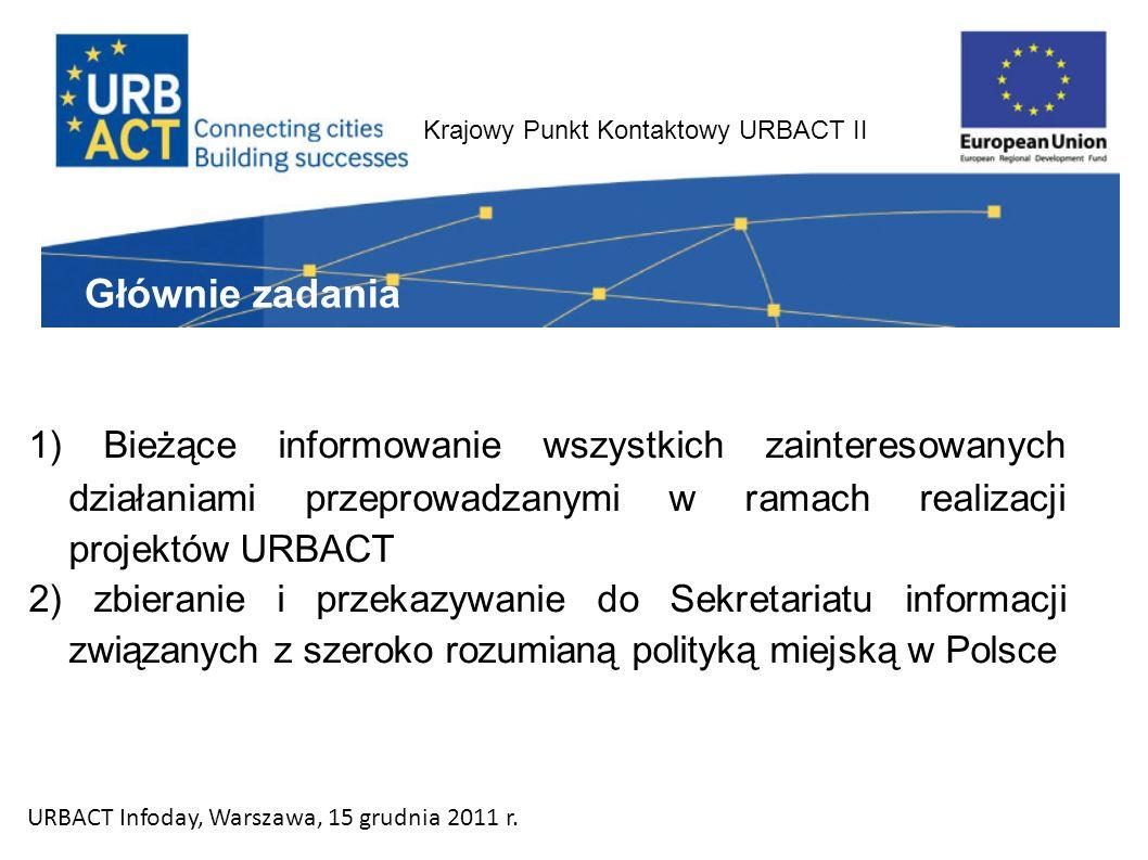 Krajowy Punkt Kontaktowy URBACT II 1) Bieżące informowanie wszystkich zainteresowanych działaniami przeprowadzanymi w ramach realizacji projektów URBACT 2) zbieranie i przekazywanie do Sekretariatu informacji związanych z szeroko rozumianą polityką miejską w Polsce Głównie zadania URBACT Infoday, Warszawa, 15 grudnia 2011 r.