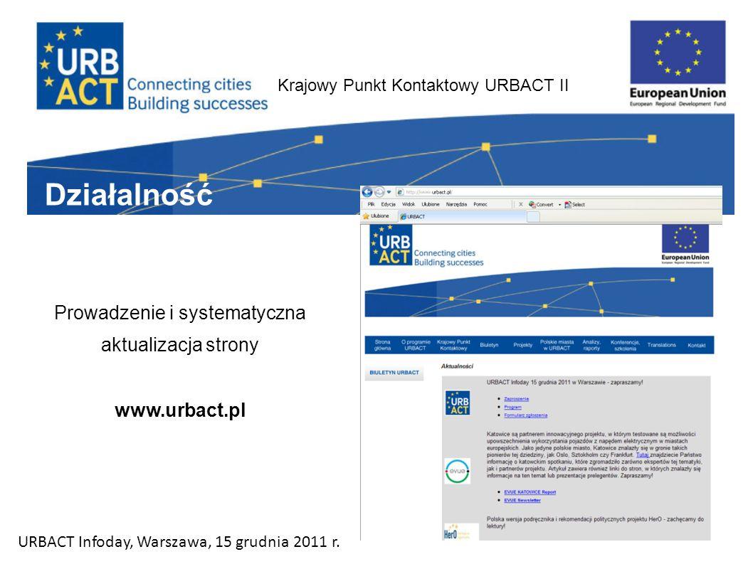 Krajowy Punkt Kontaktowy URBACT II Działalność Prowadzenie i systematyczna aktualizacja strony www.urbact.pl URBACT Infoday, Warszawa, 15 grudnia 2011