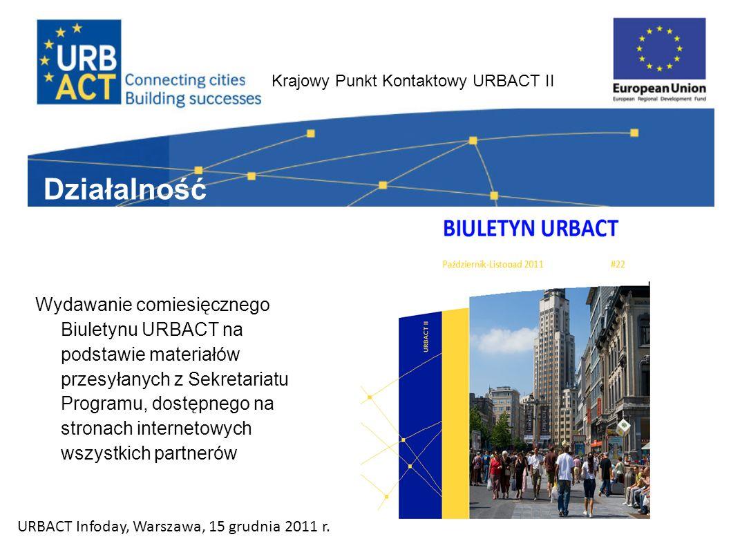 Krajowy Punkt Kontaktowy URBACT II Wydawanie comiesięcznego Biuletynu URBACT na podstawie materiałów przesyłanych z Sekretariatu Programu, dostępnego na stronach internetowych wszystkich partnerów Działalność URBACT Infoday, Warszawa, 15 grudnia 2011 r.
