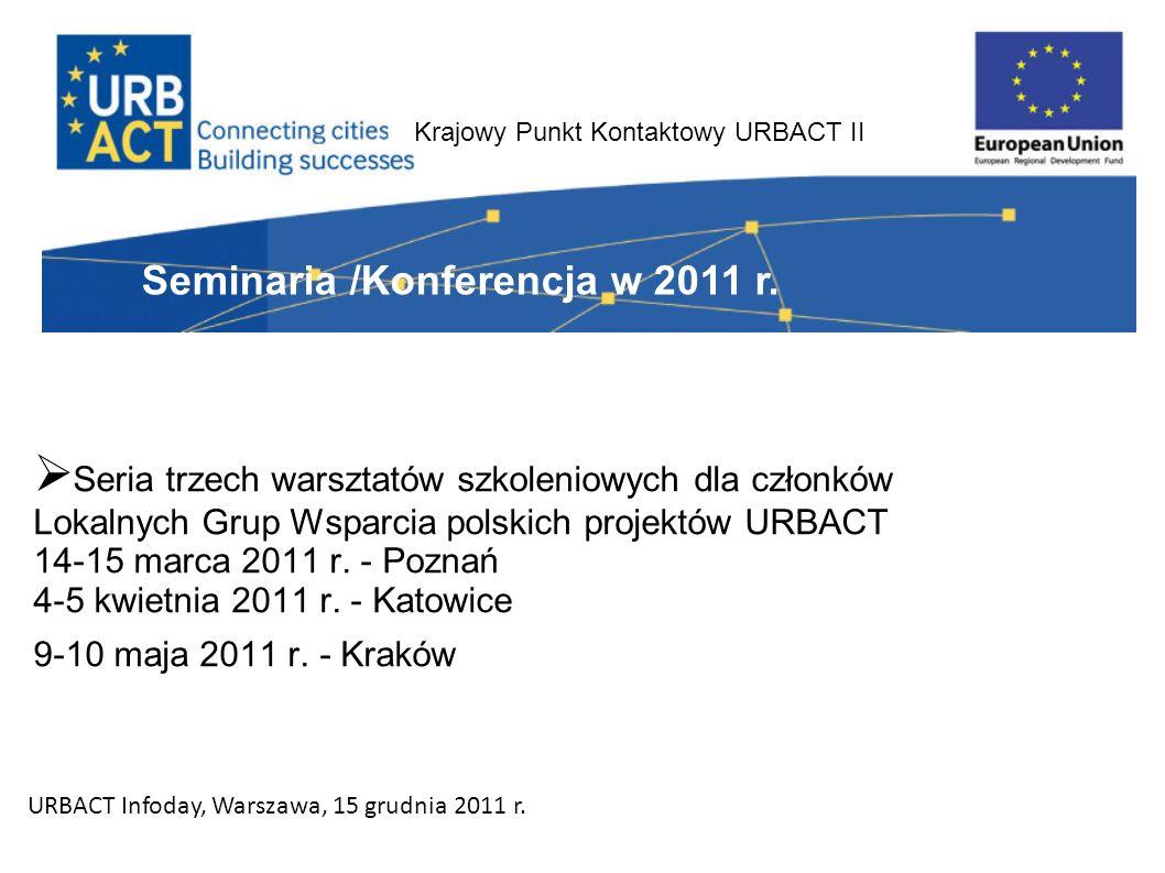 Krajowy Punkt Kontaktowy URBACT II Seria trzech warsztatów szkoleniowych dla członków Lokalnych Grup Wsparcia polskich projektów URBACT 14-15 marca 2011 r.
