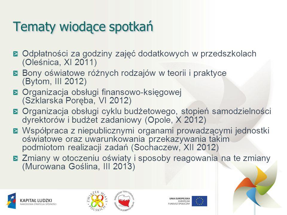 Tematy wiodące spotkań Odpłatności za godziny zajęć dodatkowych w przedszkolach (Oleśnica, XI 2011) Bony oświatowe różnych rodzajów w teorii i praktyce (Bytom, III 2012) Organizacja obsługi finansowo-księgowej (Szklarska Poręba, VI 2012) Organizacja obsługi cyklu budżetowego, stopień samodzielności dyrektorów i budżet zadaniowy (Opole, X 2012) Współpraca z niepublicznymi organami prowadzącymi jednostki oświatowe oraz uwarunkowania przekazywania takim podmiotom realizacji zadań (Sochaczew, XII 2012) Zmiany w otoczeniu oświaty i sposoby reagowania na te zmiany (Murowana Goślina, III 2013)