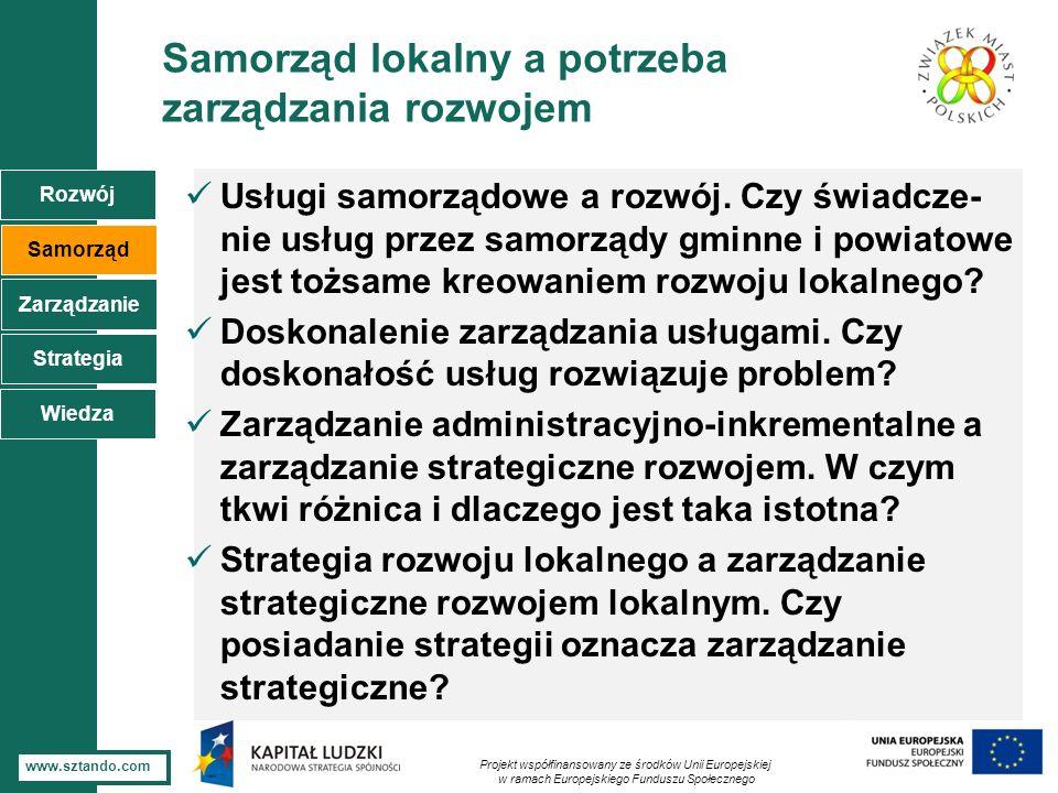 3 www.sztando.com Samorząd lokalny a potrzeba zarządzania rozwojem Usługi samorządowe a rozwój. Czy świadcze- nie usług przez samorządy gminne i powia