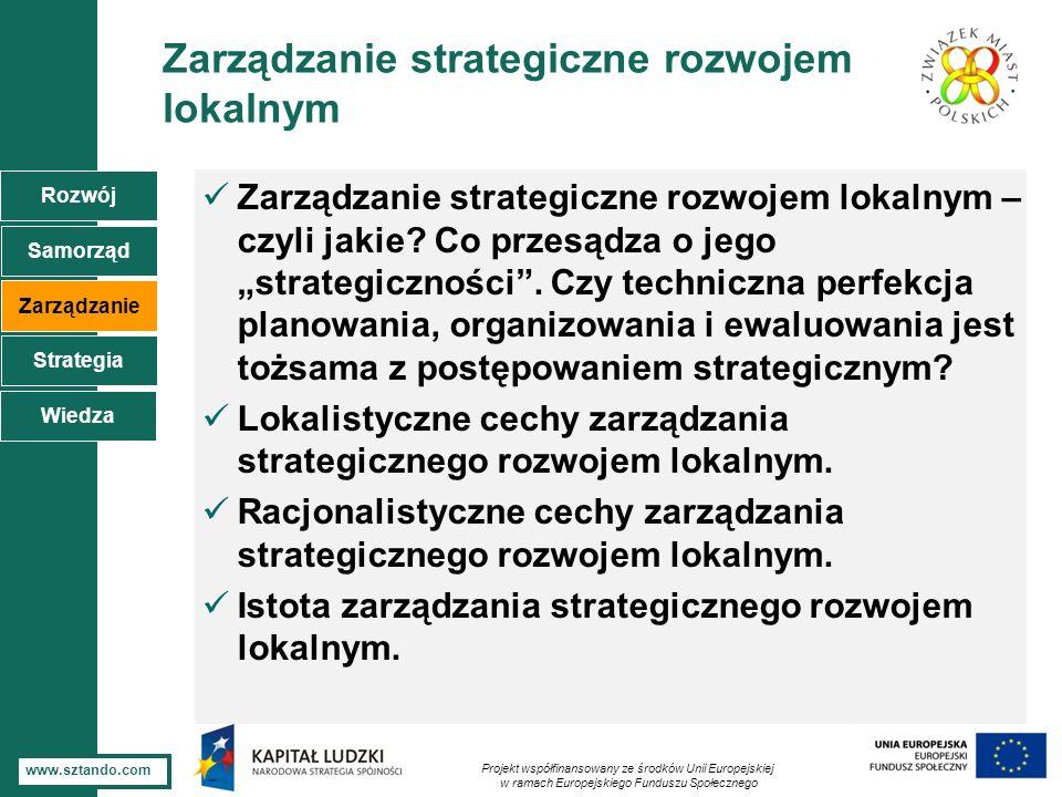 4 www.sztando.com Zarządzanie strategiczne rozwojem lokalnym Zarządzanie strategiczne rozwojem lokalnym – czyli jakie? Co przesądza o jego strategiczn