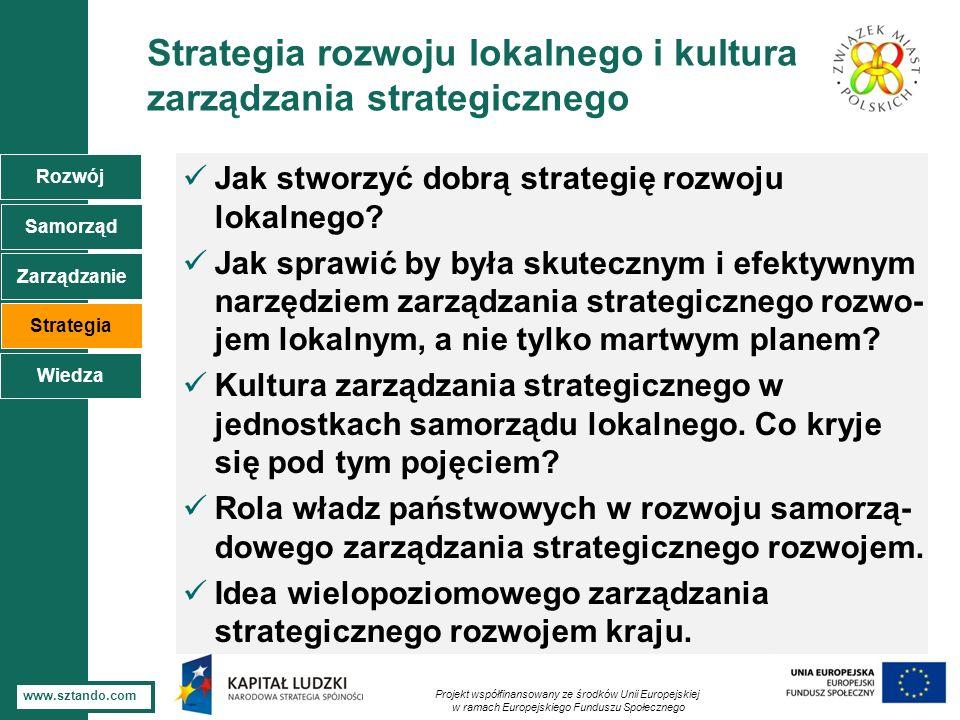 5 www.sztando.com Strategia rozwoju lokalnego i kultura zarządzania strategicznego Jak stworzyć dobrą strategię rozwoju lokalnego? Jak sprawić by była