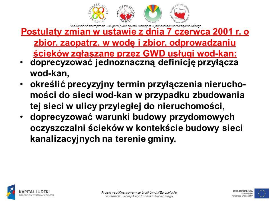 Postulaty zmian w ustawie z dnia 7 czerwca 2001 r.
