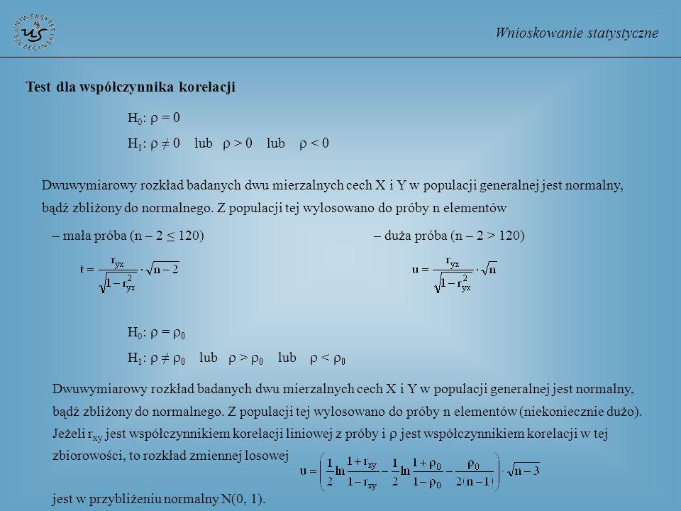 Wnioskowanie statystyczne Test dla współczynnika korelacji H 0 : = H 1 : lub > lub < Dwuwymiarowy rozkład badanych dwu mierzalnych cech X i Y w popula