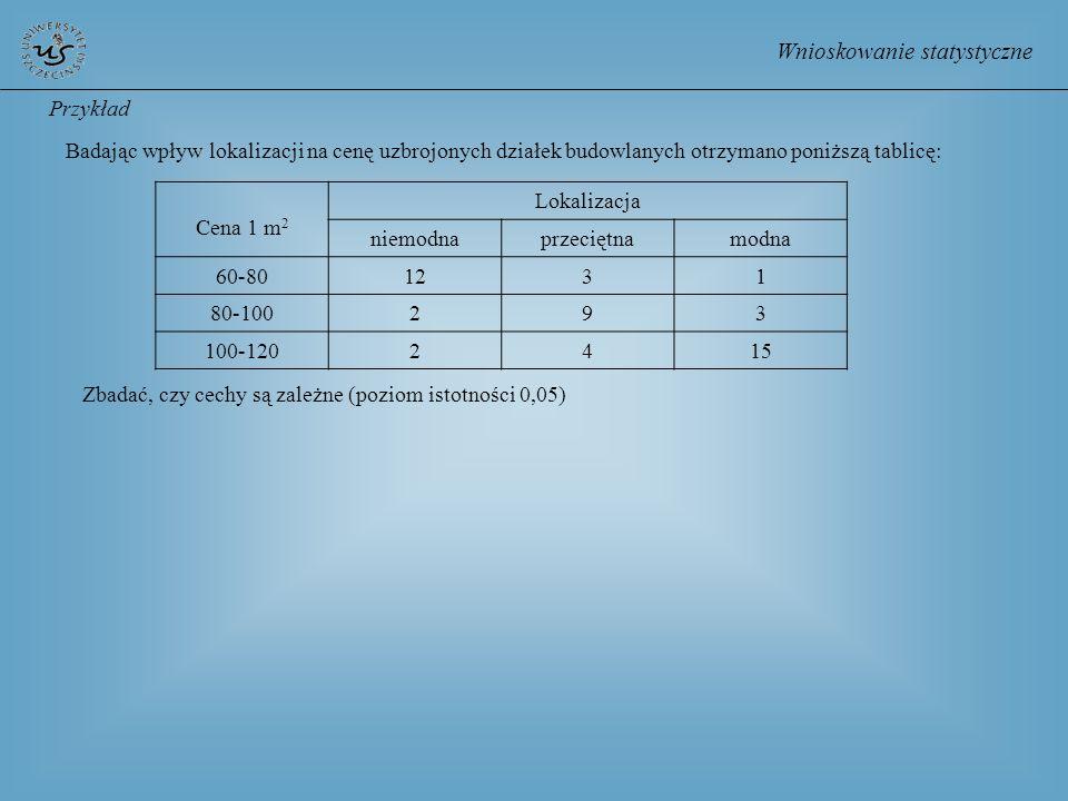Wnioskowanie statystyczne Przykład Badając wpływ lokalizacji na cenę uzbrojonych działek budowlanych otrzymano poniższą tablicę: Cena 1 m 2 Lokalizacj