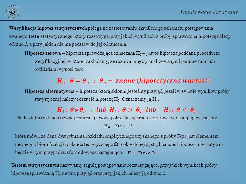 Wnioskowanie statystyczne Weryfikacja hipotez statystycznych polega na zastosowaniu określonego schematu postępowania zwanego testu statystycznego, kt
