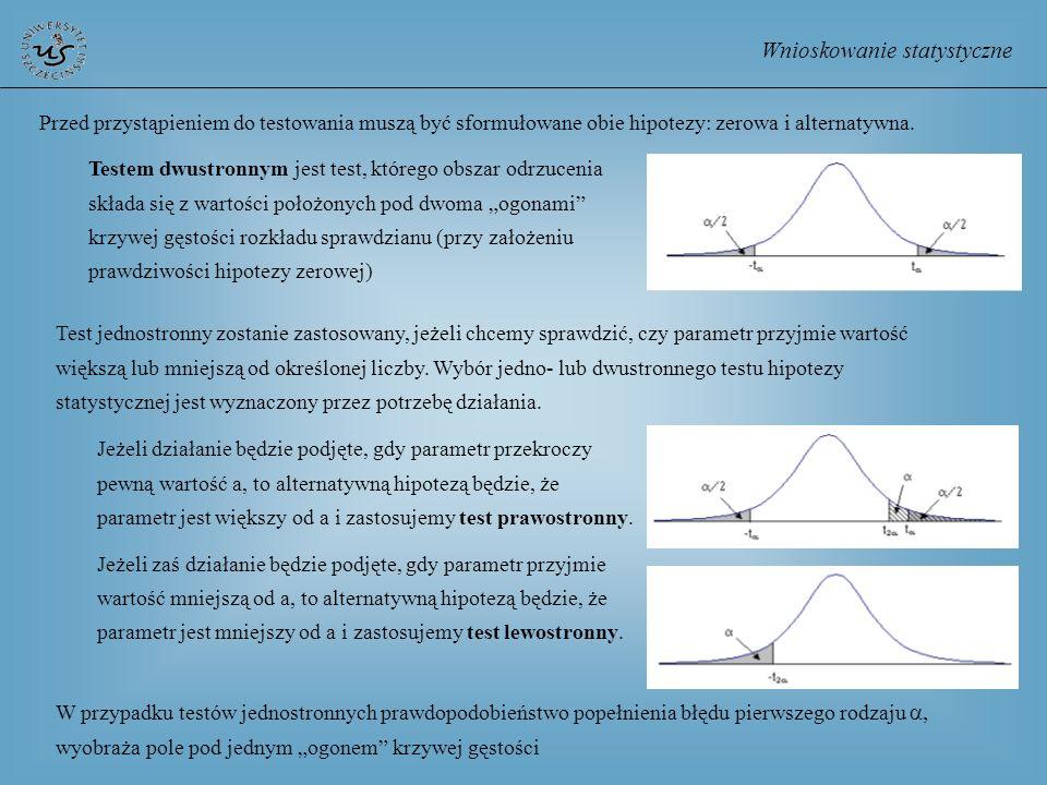 Wnioskowanie statystyczne Przed przystąpieniem do testowania muszą być sformułowane obie hipotezy: zerowa i alternatywna. Testem dwustronnym jest test