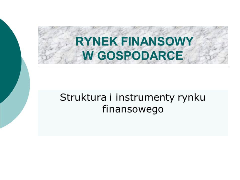 RYNEK FINANSOWY W GOSPODARCE Struktura i instrumenty rynku finansowego