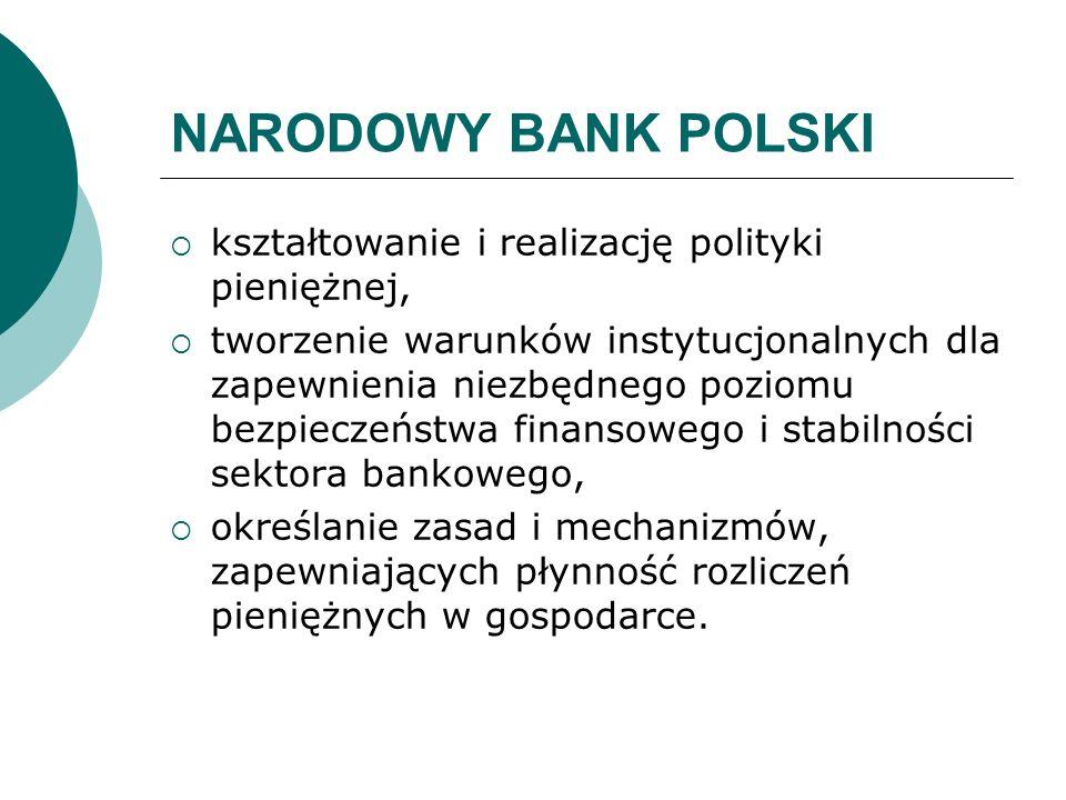 NARODOWY BANK POLSKI kształtowanie i realizację polityki pieniężnej, tworzenie warunków instytucjonalnych dla zapewnienia niezbędnego poziomu bezpiecz