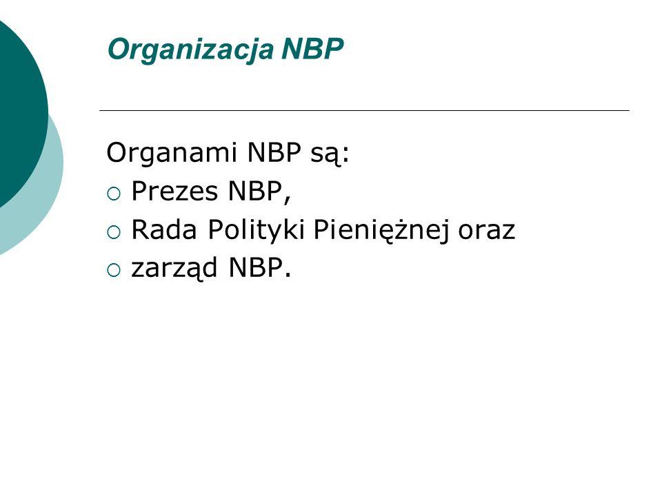 Organizacja NBP Organami NBP są: Prezes NBP, Rada Polityki Pieniężnej oraz zarząd NBP.