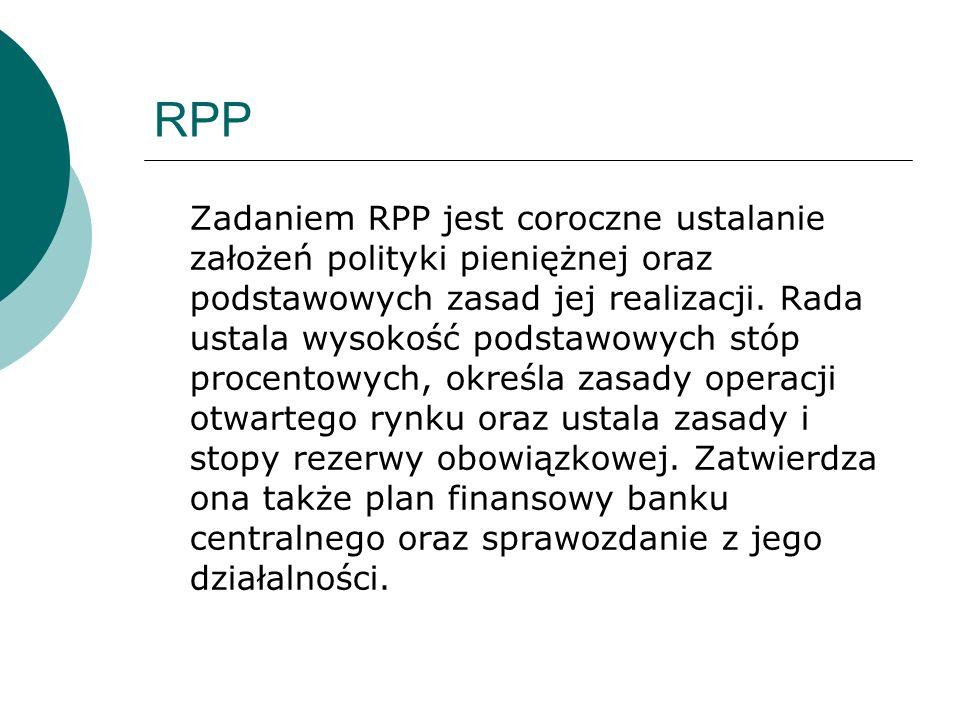 RPP Zadaniem RPP jest coroczne ustalanie założeń polityki pieniężnej oraz podstawowych zasad jej realizacji. Rada ustala wysokość podstawowych stóp pr