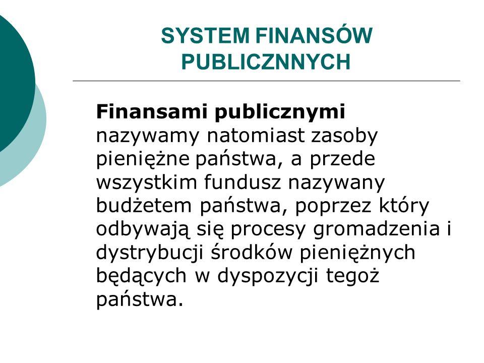 SYSTEM FINANSÓW PUBLICZNNYCH Finansami publicznymi nazywamy natomiast zasoby pieniężne państwa, a przede wszystkim fundusz nazywany budżetem państwa,