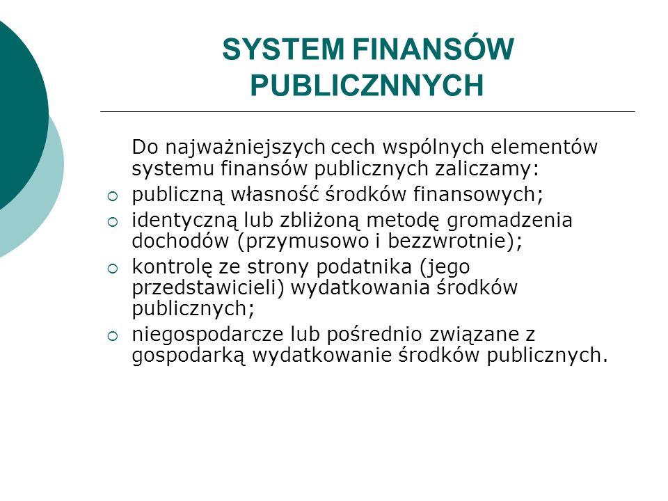 SYSTEM FINANSÓW PUBLICZNNYCH Do najważniejszych cech wspólnych elementów systemu finansów publicznych zaliczamy: publiczną własność środków finansowyc