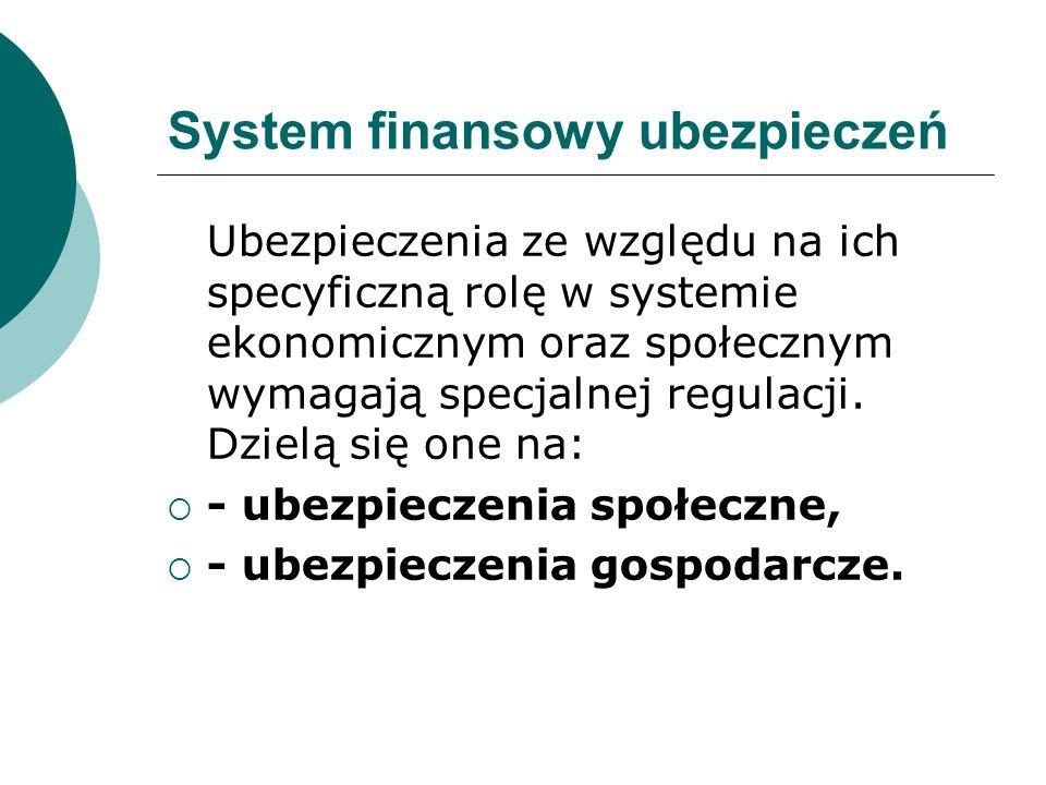 System finansowy ubezpieczeń Ubezpieczenia ze względu na ich specyficzną rolę w systemie ekonomicznym oraz społecznym wymagają specjalnej regulacji. D