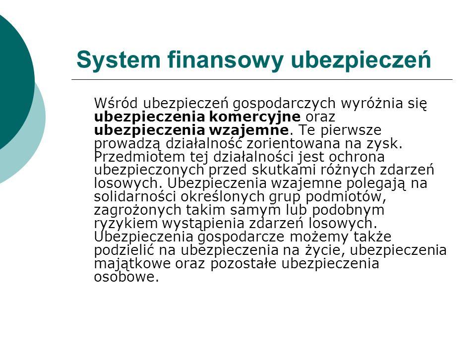 System finansowy ubezpieczeń Wśród ubezpieczeń gospodarczych wyróżnia się ubezpieczenia komercyjne oraz ubezpieczenia wzajemne. Te pierwsze prowadzą d