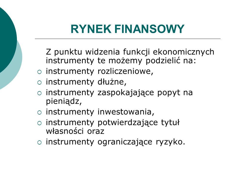 RYNEK FINANSOWY Z punktu widzenia funkcji ekonomicznych instrumenty te możemy podzielić na: instrumenty rozliczeniowe, instrumenty dłużne, instrumenty