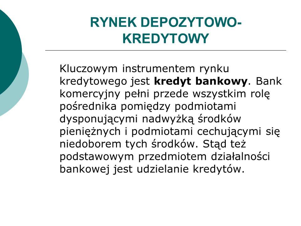 RYNEK DEPOZYTOWO- KREDYTOWY Kluczowym instrumentem rynku kredytowego jest kredyt bankowy. Bank komercyjny pełni przede wszystkim rolę pośrednika pomię