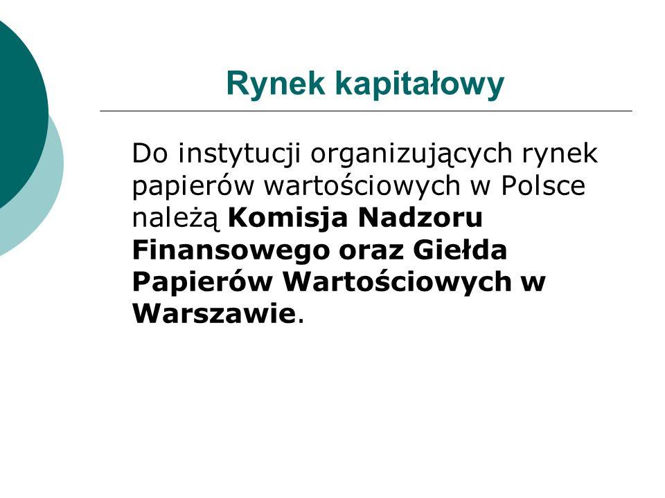 Rynek kapitałowy Do instytucji organizujących rynek papierów wartościowych w Polsce należą Komisja Nadzoru Finansowego oraz Giełda Papierów Wartościow
