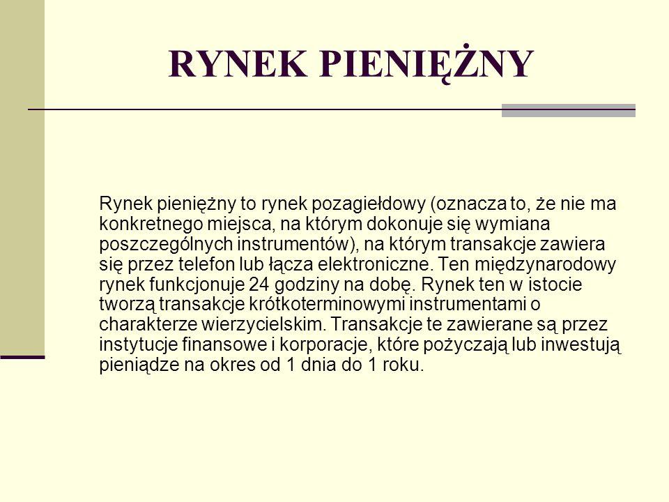 RYNEK PIENIĘŻNY Data waluty to data rzeczywistej dostawy środków pieniężnych, których transfer wynika z przeprowadzonej transakcji.