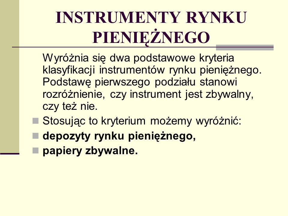 INSTRUMENTY RYNKU PIENIĘŻNEGO Drugie kryterium podziału dotyczy sposobu, w jaki przynoszą one dochód.