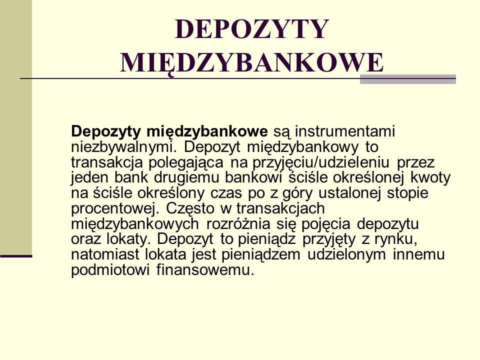 STOPY PROCENTOWE NA RYNKU PIENIĘŻNYM Stopy na rynku pieniężnym wyrażone są w procentach w stosunku rocznym.