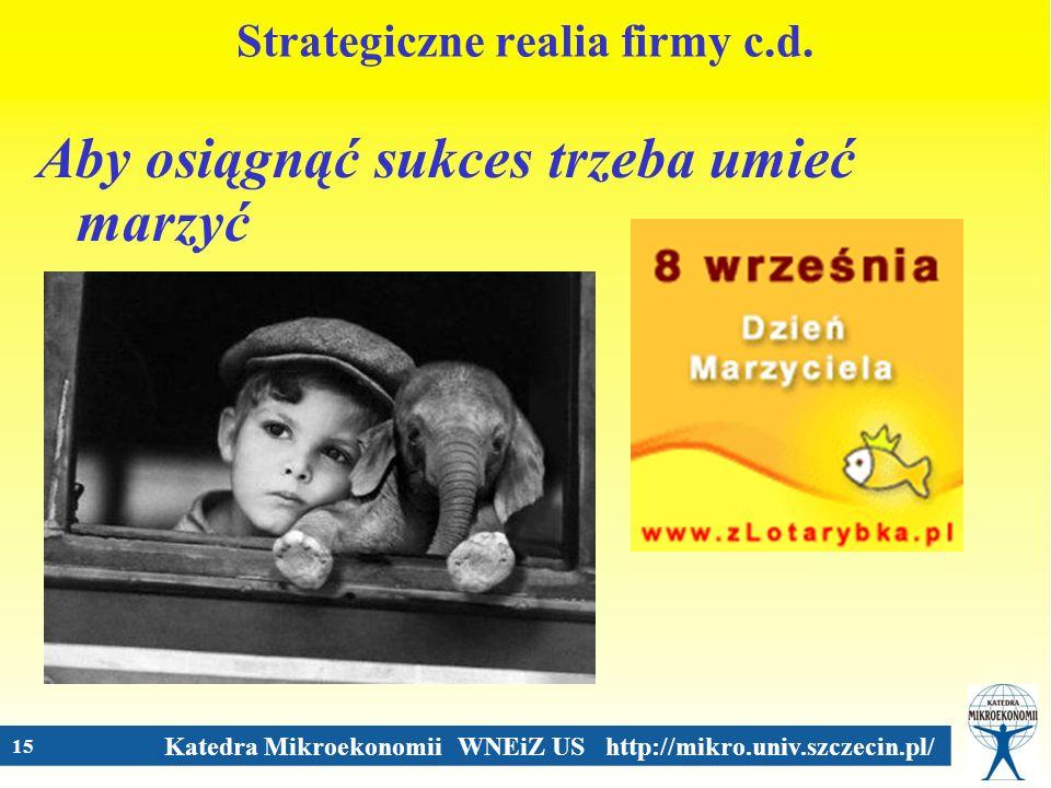 Katedra Mikroekonomii WNEiZ US http://mikro.univ.szczecin.pl/ 15 Strategiczne realia firmy c.d. Aby osiągnąć sukces trzeba umieć marzyć