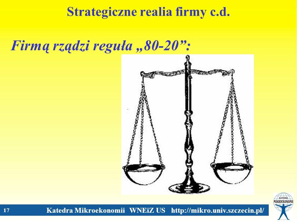 Katedra Mikroekonomii WNEiZ US http://mikro.univ.szczecin.pl/ 17 Strategiczne realia firmy c.d. Firmą rządzi reguła 80-20:
