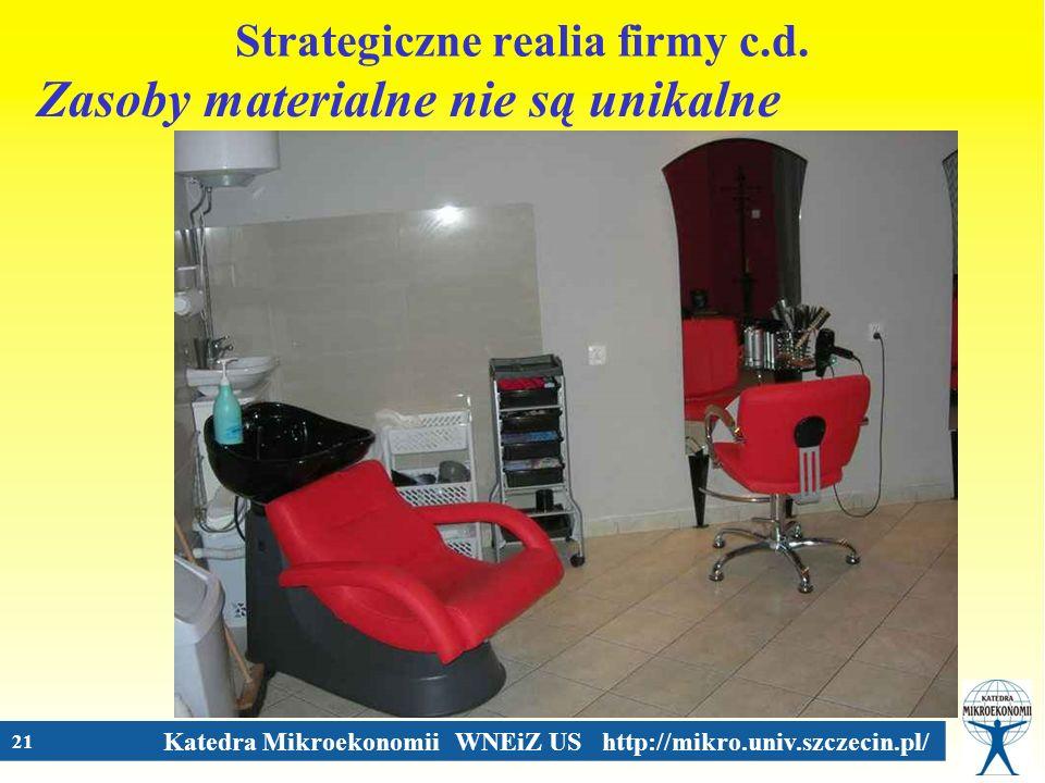 Katedra Mikroekonomii WNEiZ US http://mikro.univ.szczecin.pl/ 21 Strategiczne realia firmy c.d. Zasoby materialne nie są unikalne