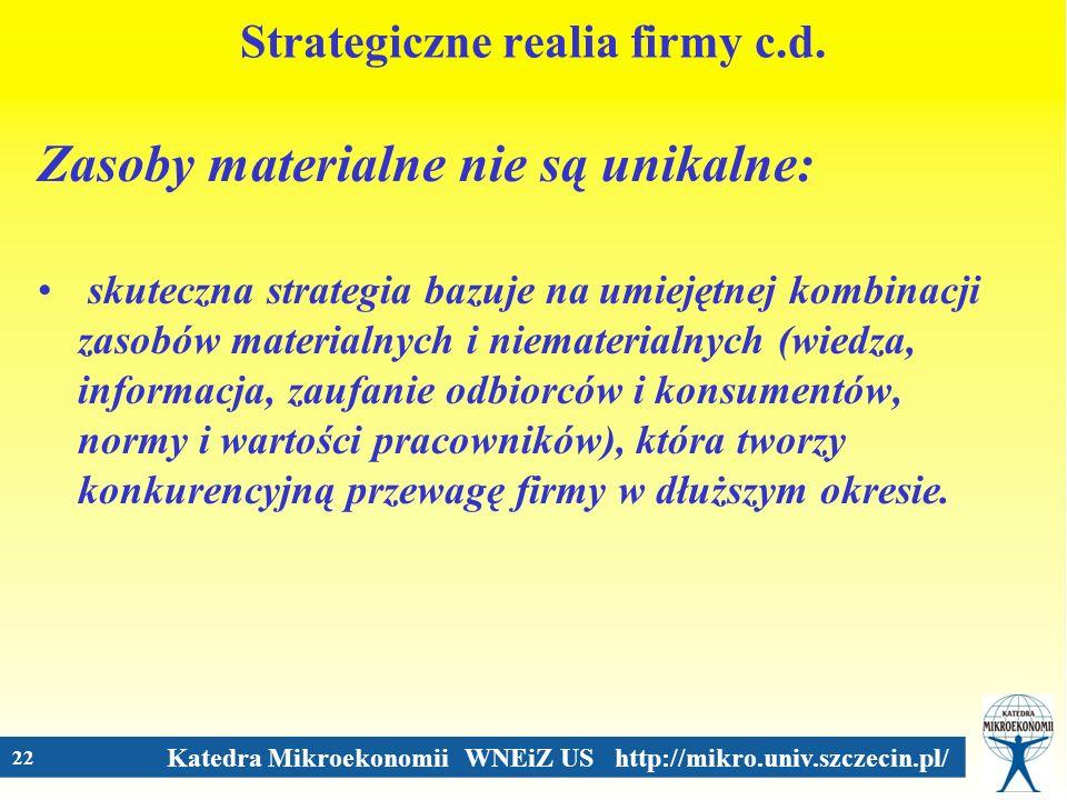 Katedra Mikroekonomii WNEiZ US http://mikro.univ.szczecin.pl/ 22 Strategiczne realia firmy c.d. Zasoby materialne nie są unikalne: skuteczna strategia