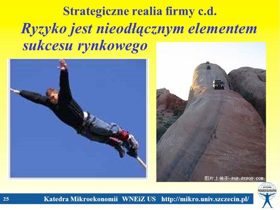 Katedra Mikroekonomii WNEiZ US http://mikro.univ.szczecin.pl/ 25 Strategiczne realia firmy c.d. Ryzyko jest nieodłącznym elementem sukcesu rynkowego