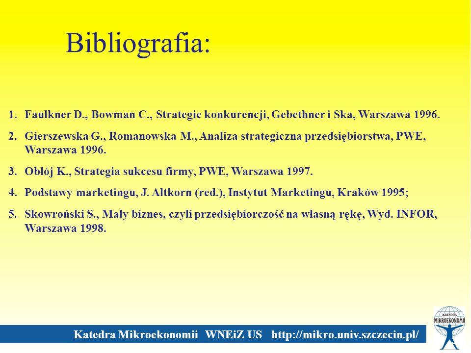 Katedra Mikroekonomii WNEiZ US http://mikro.univ.szczecin.pl/ Bibliografia: 33 1.Faulkner D., Bowman C., Strategie konkurencji, Gebethner i Ska, Warsz