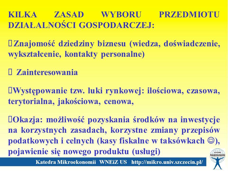 Katedra Mikroekonomii WNEiZ US http://mikro.univ.szczecin.pl/ KILKA ZASAD WYBORU PRZEDMIOTU DZIAŁALNOŚCI GOSPODARCZEJ: Znajomość dziedziny biznesu (wi